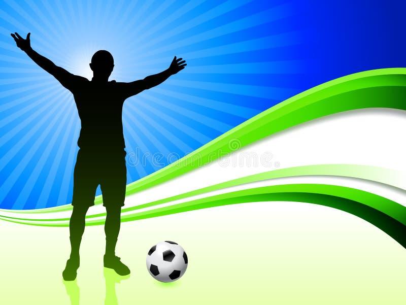 Футболист на абстрактной предпосылке волны иллюстрация вектора