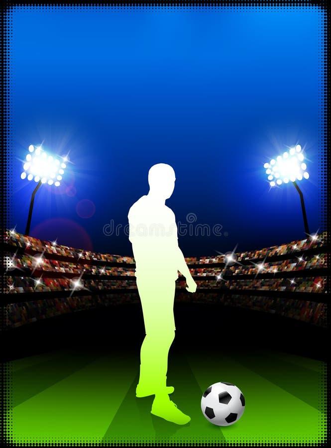 Футболист на предпосылке стадиона бесплатная иллюстрация