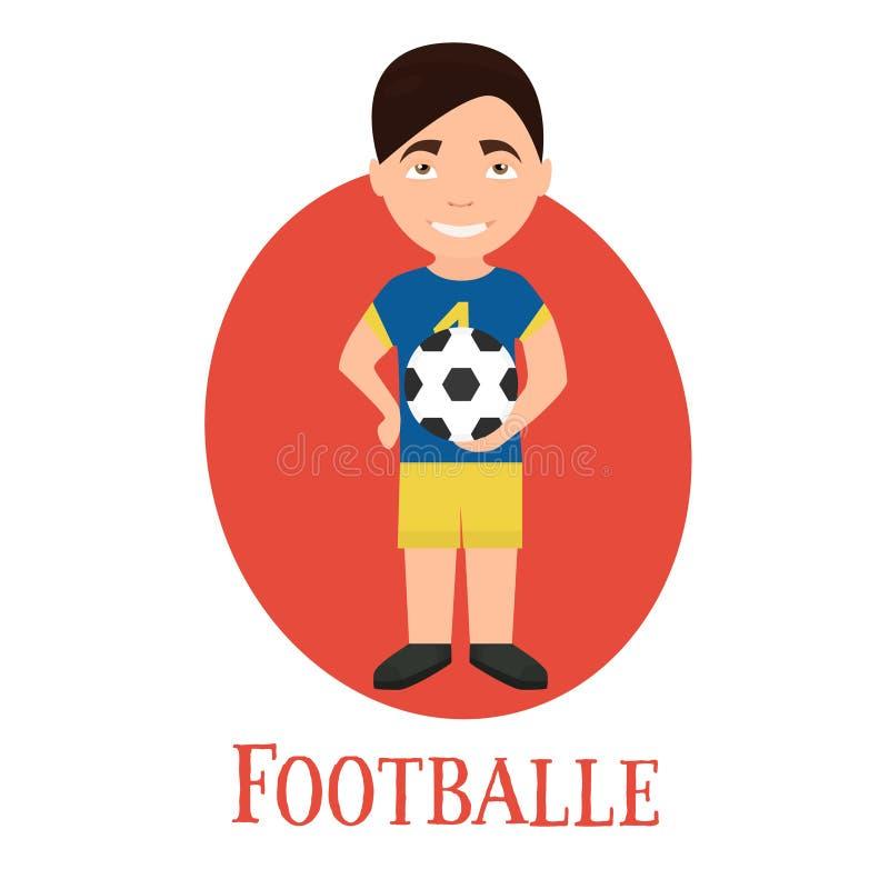Футболист профессии, молодой человек характера иллюстрация вектора