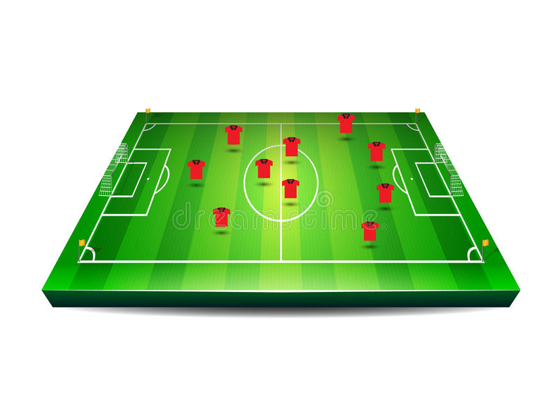 Футбол или футбольное поле с игроками бесплатная иллюстрация