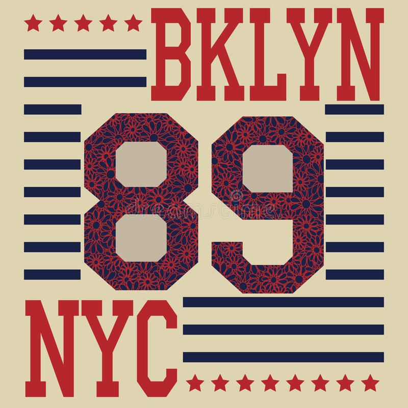 Футболка оформления спорта Нью-Йорка Бруклина иллюстрация вектора