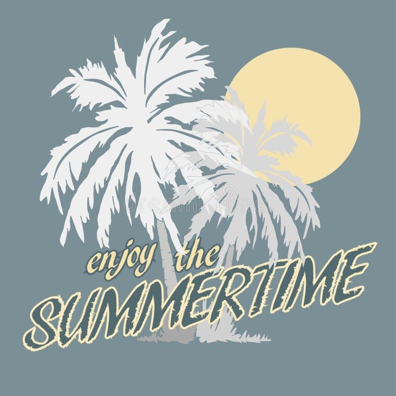 Футболка пальм и Солнця иллюстрация штока
