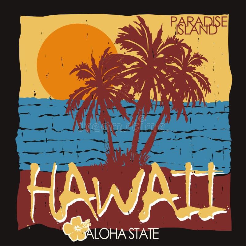 Футболка пляжа Гаваи тропическая иллюстрация вектора