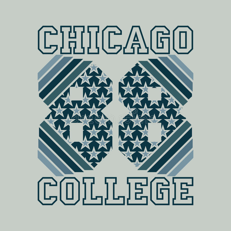 Футболка Чикаго, оформление атлетики, коллеж моды, спорт de иллюстрация вектора