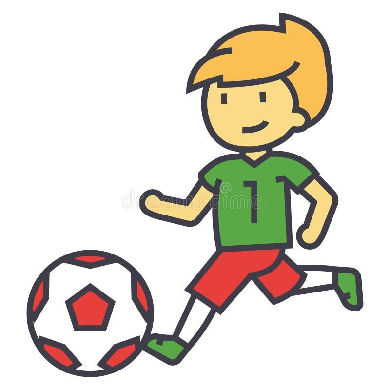 Футбол, мальчик играя концепцию футбола иллюстрация штока