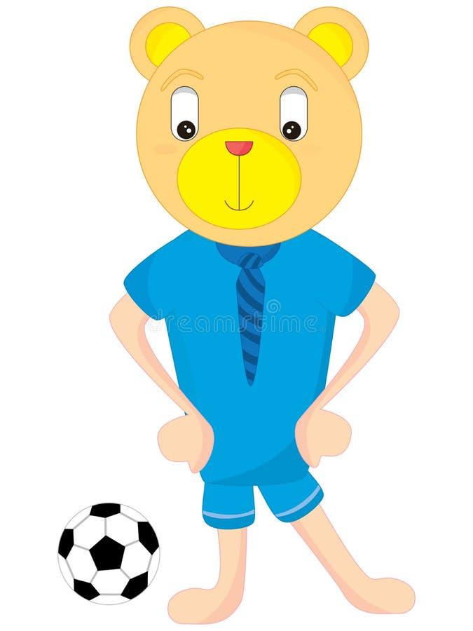 Футбол мужчины медведя иллюстрация вектора