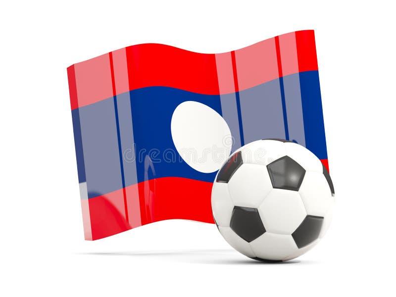 Футбол с развевая флагом Лаоса изолировал на белизне бесплатная иллюстрация