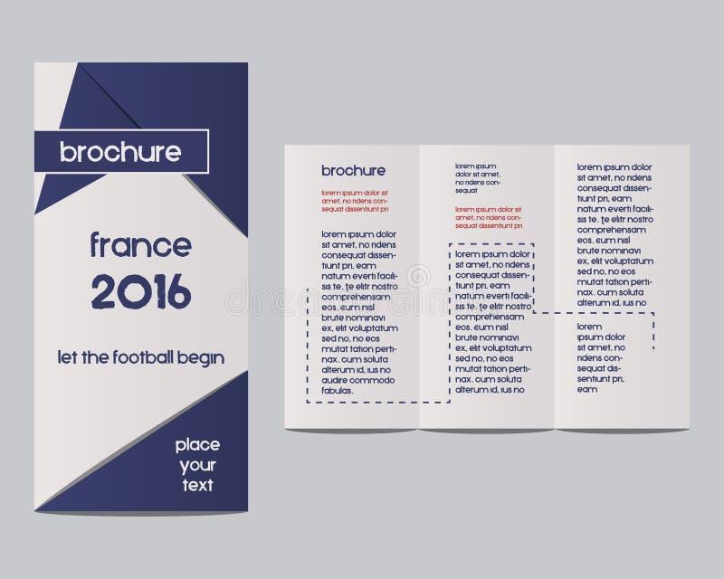 Футбол 2016 Франции План дизайна рогульки брошюры иллюстрация вектора