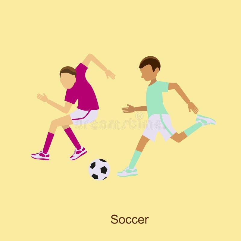 Футбол, футболисты в различных представлениях иллюстрация вектора