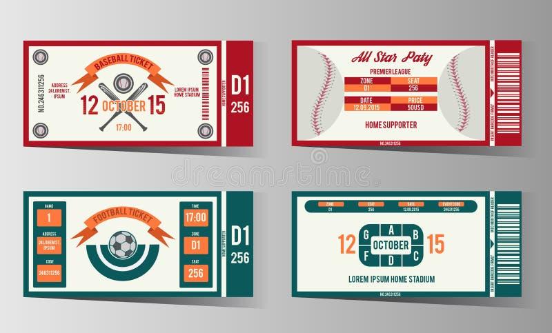 Футбол, футбол и билет бейсбола вектор конструируют иллюстрация вектора