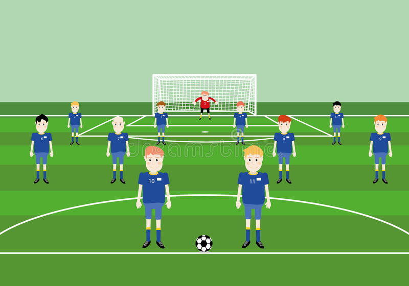 Футбольная команда игроков иллюстрация вектора
