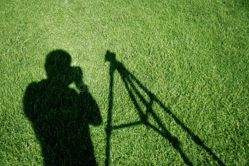 Футбольное поле с тенью съемки стоковая фотография