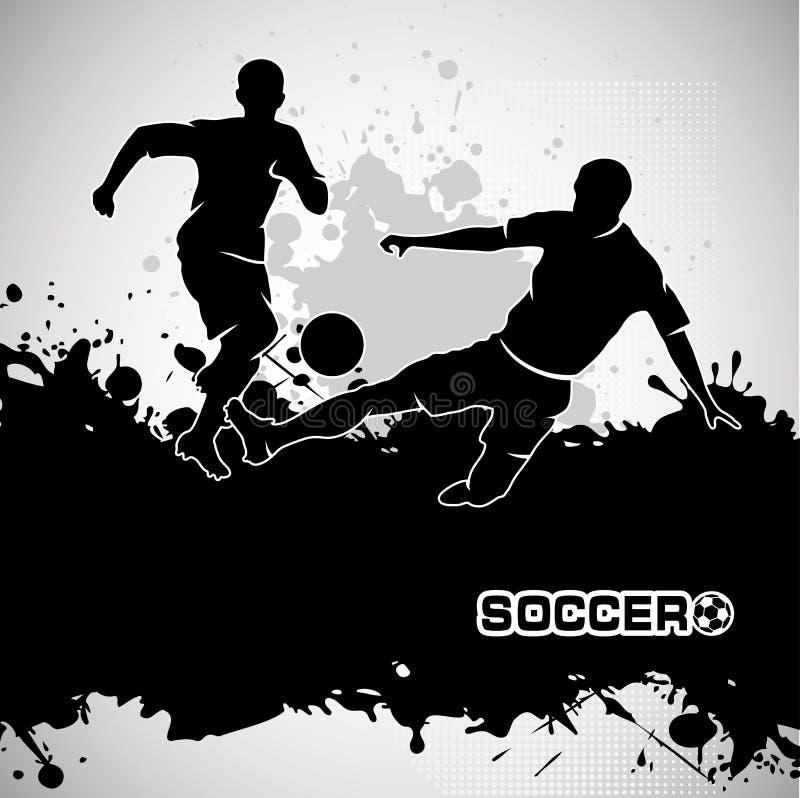 Футбольный матч, пинает шарик, стиль grunge состава иллюстрация вектора