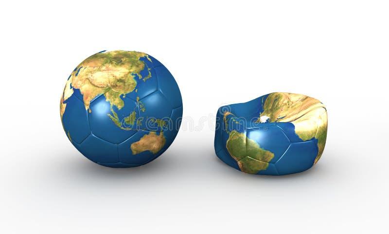 Футбольный мяч земли иллюстрация вектора