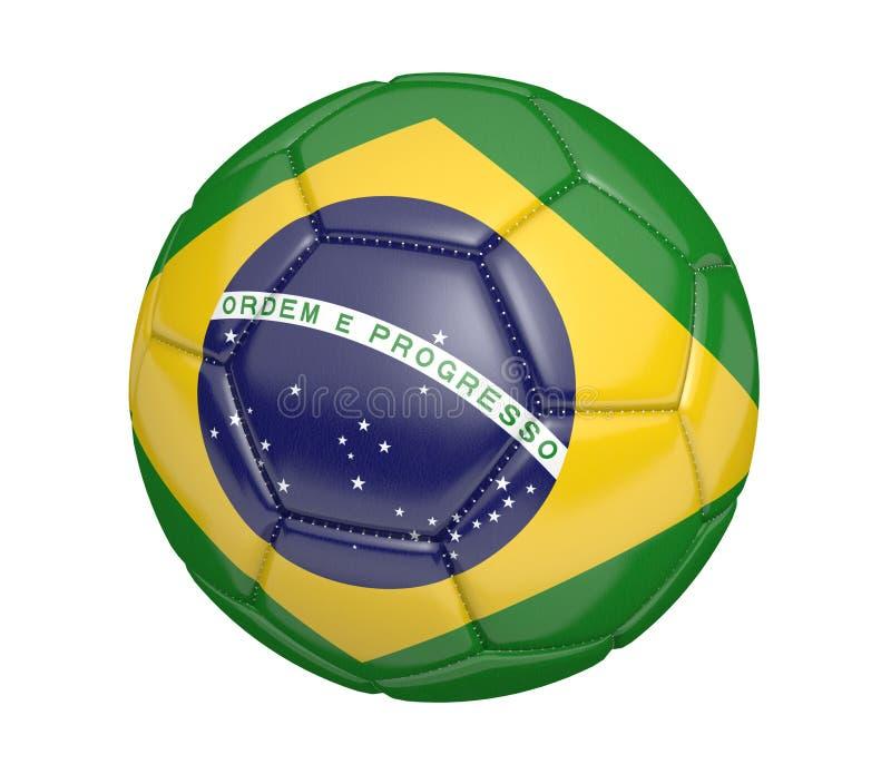Футбольный мяч, или футбол, с флагом страны Бразилии иллюстрация штока