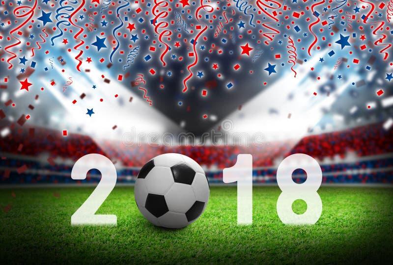Футбольный мяч 2018 на футбольном поле в стадионе России с светом стоковые фотографии rf
