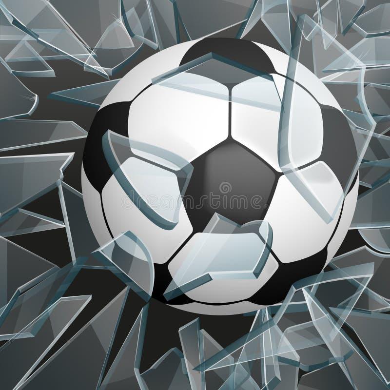 Футбольный мяч ломая стеклянную иллюстрацию вектора иллюстрация вектора