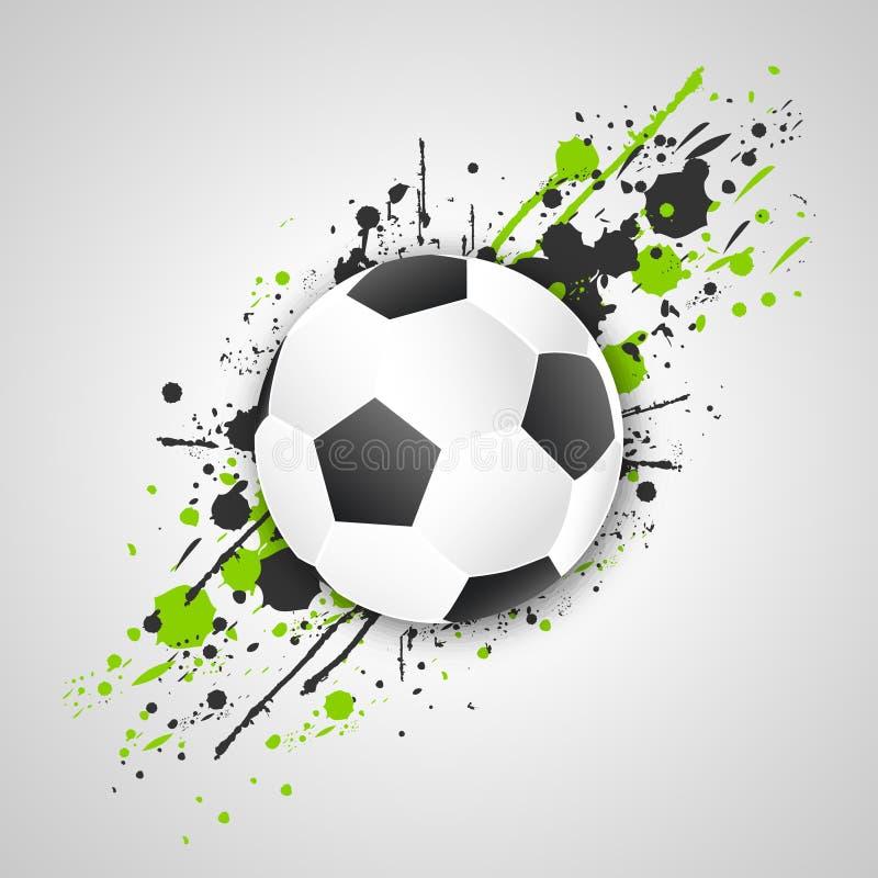 Футбольный мяч (шарик футбола) с влиянием grunge вектор бесплатная иллюстрация