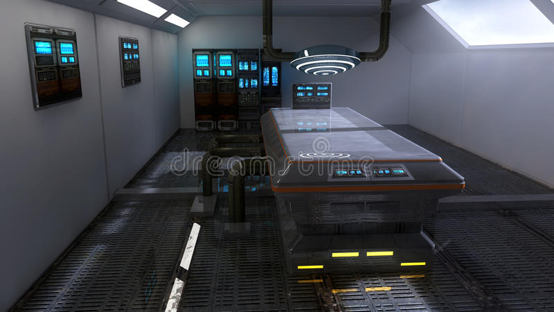 Футуристическая лаборатория архитектуры комнаты бесплатная иллюстрация