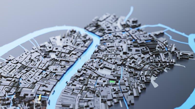 футуристическая архитектура города 3D стоковое фото