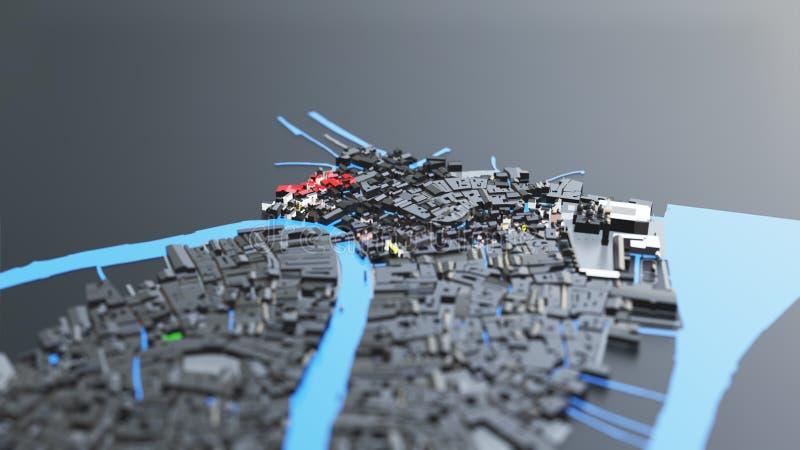 футуристическая архитектура города 3D стоковые фотографии rf