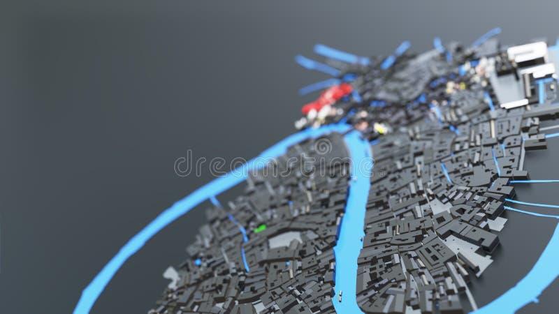 футуристическая архитектура города 3D стоковое изображение