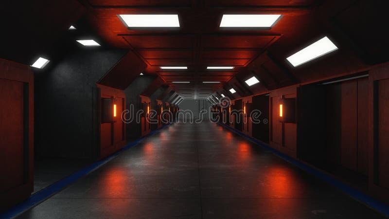 Футуристическая внутренняя архитектура коридора стоковые фотографии rf