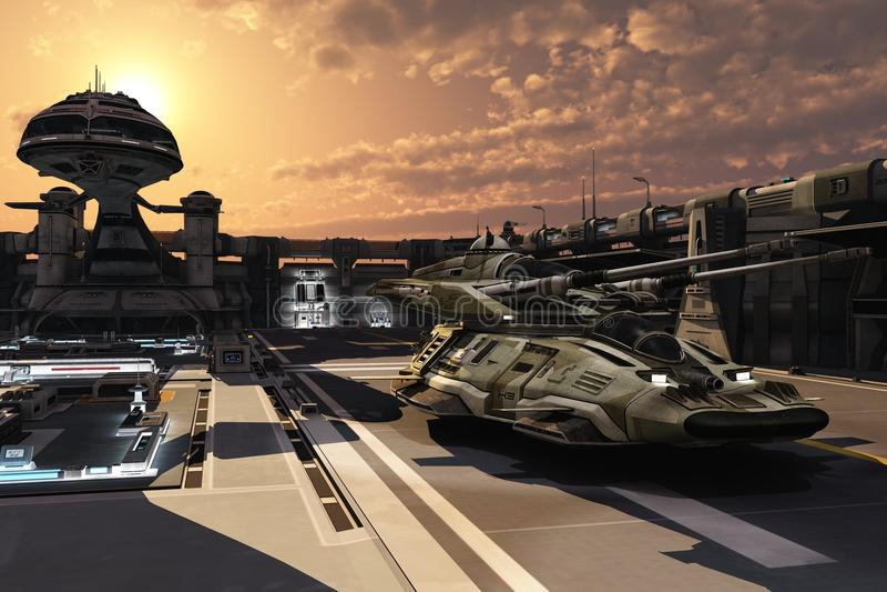 Футуристическая военная база и антигравитационный танк иллюстрация вектора