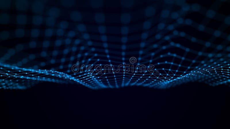 Футуристическая волна пункта Абстрактная предпосылка с динамической волной Иллюстрация технологии данных иллюстрация штока