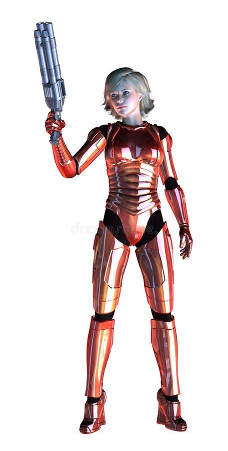 Футуристическая девушка, подготовленная с тяжелым оружием, красный металлический костюм, иллюстрация 3d иллюстрация штока