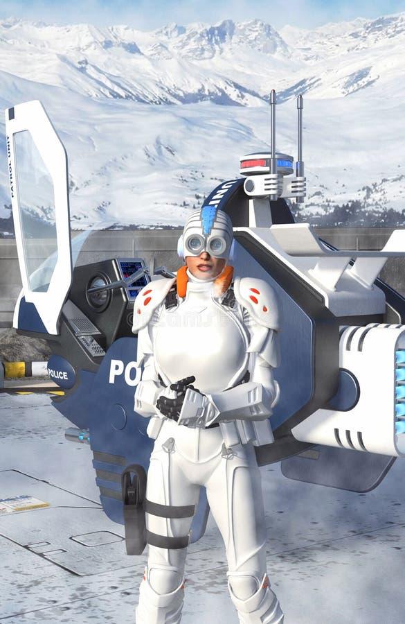 Футуристическая женщина полиции в зиме иллюстрация штока