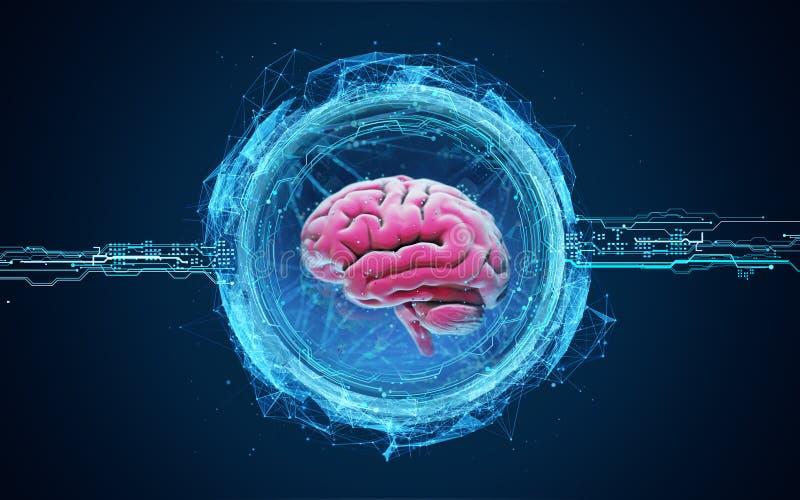 Футуристическая иллюстрация hologram мозга бесплатная иллюстрация