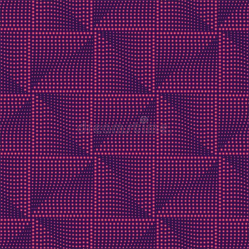Футуристическая квадратная безшовная картина Геометрическая абстрактная пурпурная предпосылка, накаляя картина также вектор иллюс иллюстрация штока