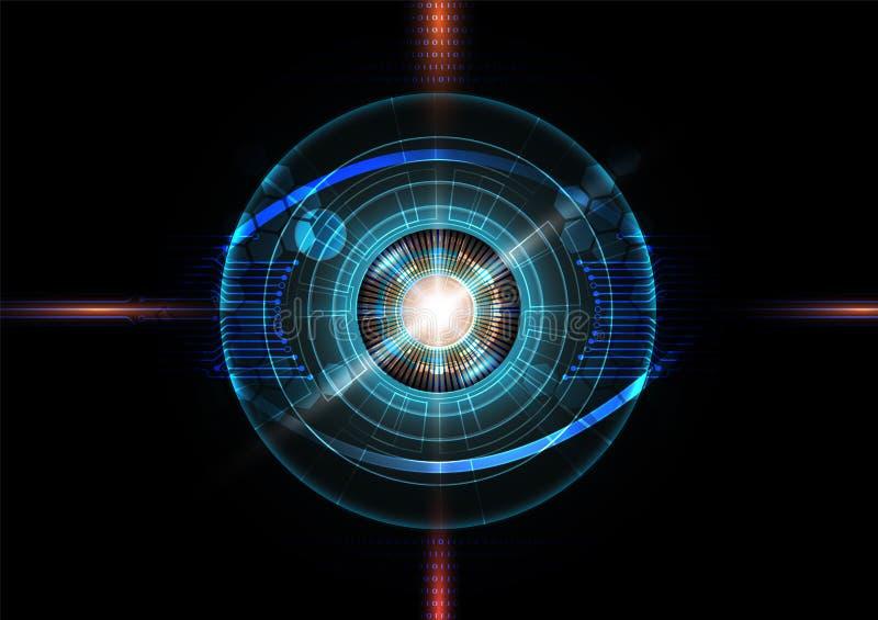 Футуристическая концепция технологии обнаружения глаза с бинарным кодом бесплатная иллюстрация