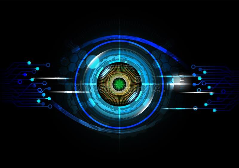 Футуристическая концепция технологии обнаружения глаза с иллюстрацией вектора бинарного кода бесплатная иллюстрация