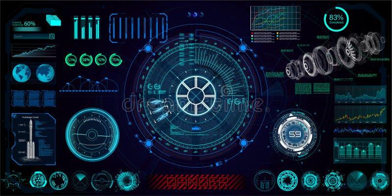 Футуристическая концепция HUD, GUI иллюстрация вектора