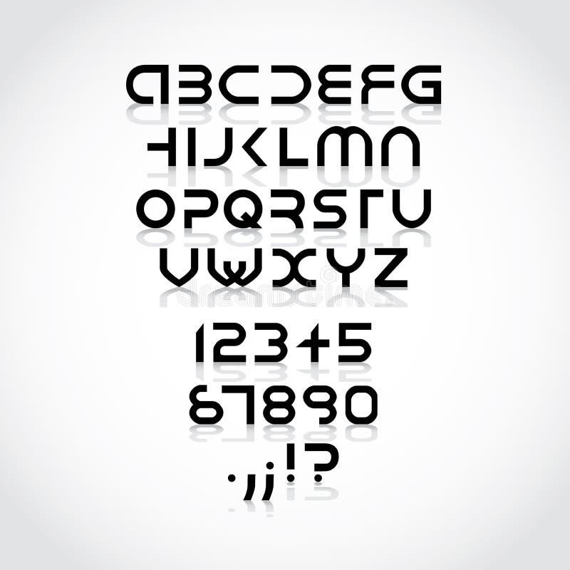 Футуристическая купель алфавита иллюстрация штока