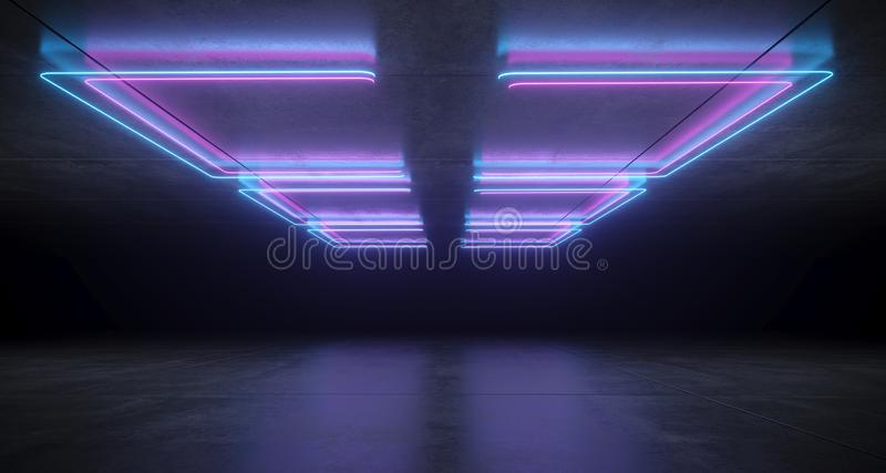 Футуристическая научная фантастика ставит в скобки форменные неоновые голубые и пурпурные накаляя света с отражениями на конкретн бесплатная иллюстрация