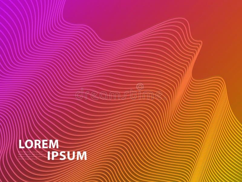 Футуристическая предпосылка дизайна шаблона Современная линия геометрические градиенты конспекта 3D полутонового изображения для  иллюстрация вектора