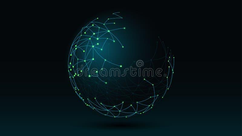 Футуристическая предпосылка элементов сети передачи данных глобуса абстрактная бесплатная иллюстрация