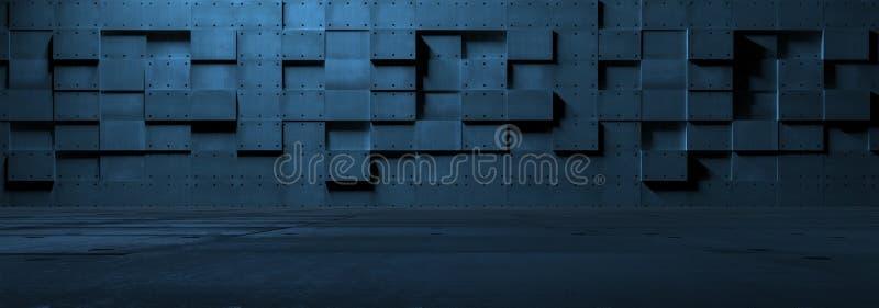 Футуристическая пустая комната металла стоковое изображение rf
