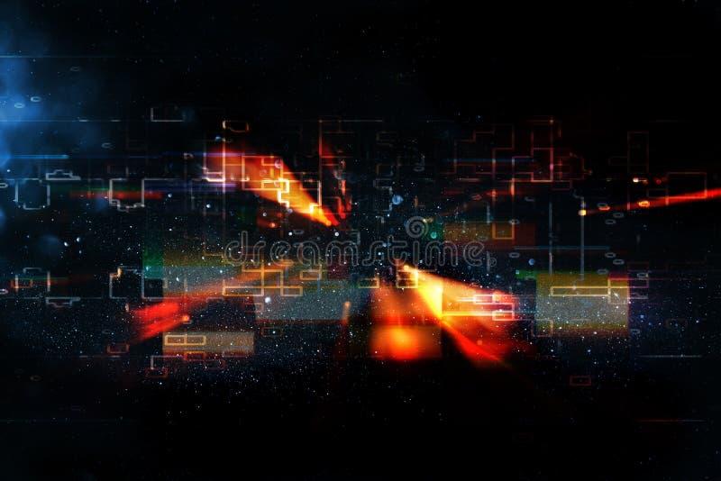 Футуристическая ретро предпосылка стиля 80 ` s ретро Поверхность цифров или кибер неоновые света и геометрическая картина бесплатная иллюстрация