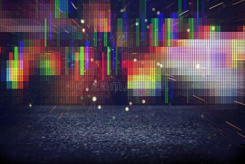 Футуристическая ретро предпосылка стиля 80 ` s ретро Поверхность цифров или кибер неоновые света и геометрическая картина иллюстрация штока