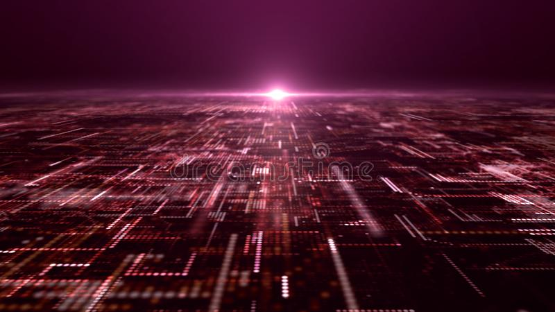 Футуристическая решетка частиц матрицы цифров абстрактная стоковая фотография rf