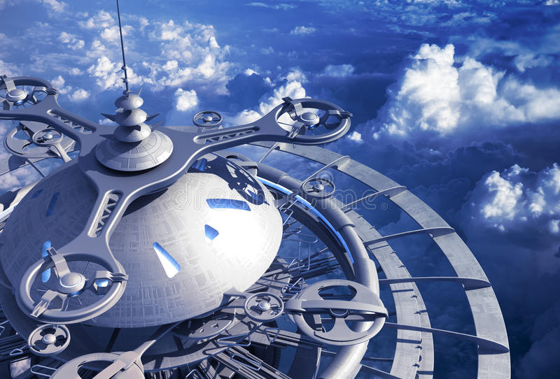 Футуристическая станция летания над облаками иллюстрация вектора
