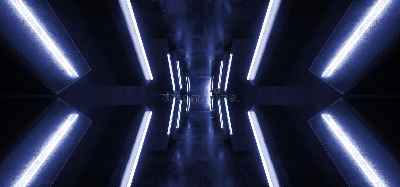 Футуристическая стрелка сформировала Grunge коридора неоновых свет накаляя этап гаража подиума живого голубого конкретный темный  иллюстрация штока