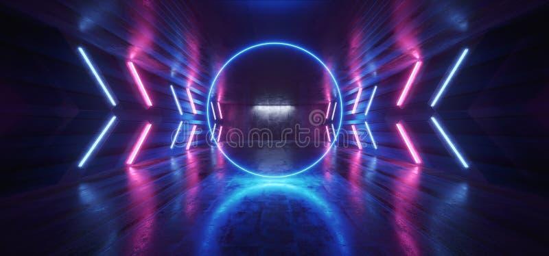 Футуристическая стрелка сформировала Grunge коридора неоновых свет накаляя гараж подиума живого голубого пурпурного конкретный те иллюстрация штока