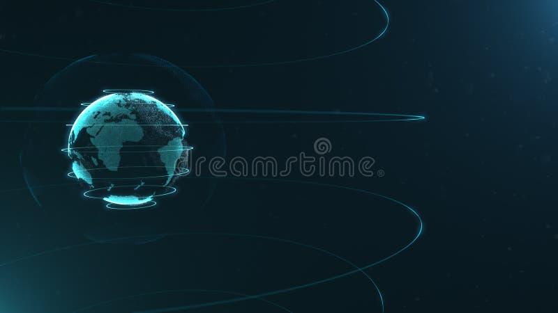 Футуристическая сфера точек Интерфейс глобализации Чувство графиков науки и техники абстрактных перевод 3d иллюстрация вектора