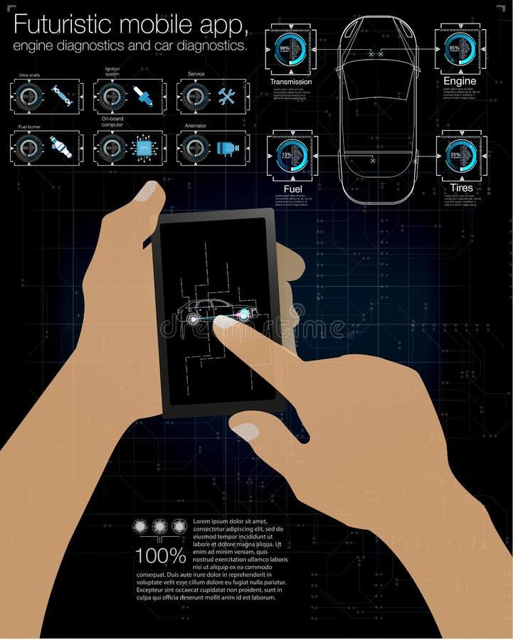 Футуристическая чернь app, диагностики двигателя и диагностики автомобиля также вектор иллюстрации притяжки corel иллюстрация штока
