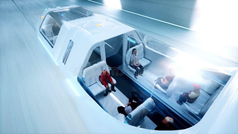 Футуристическая шина летания с людьми голодает управляющ в тоннеле fi sci, coridor Концепция будущего перевод 3d иллюстрация штока